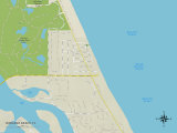 Political Map of Wabasso Beach, FL Posters