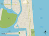 Political Map of Surfside, FL Prints