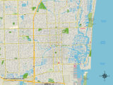 Political Map of Fort Lauderdale, FL Prints