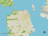 Political Map of San Francisco, CA Prints