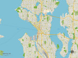 Political Map of Seattle, WA Prints