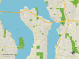 Political Map of Mercer Island, WA Prints