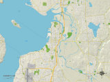 Political Map of Everett, WA Posters
