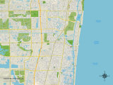 Political Map of Deerfield Beach, FL Prints