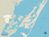 Political Map of Chincoteague, VA Prints