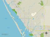 Political Map of Englewood, FL Prints