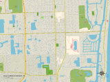 Political Map of Hallandale Beach, FL Art