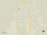 Political Map of Tulare, CA Prints