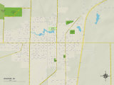 Political Map of Waupun, WI Prints