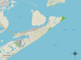 Political Map of Galveston, TX Prints