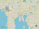 Political Map of Tampa, FL Print