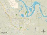 Politische Karte von Pine Bluff, Arkansas Kunstdruck