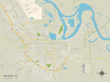 Political Map of Pine Bluff, AR Print