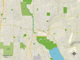 Political Map of Redmond, WA Art