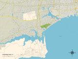 Political Map of Warrington, FL Prints