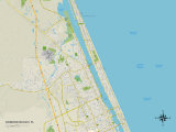 Political Map of Ormond Beach, FL Prints