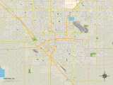 Political Map of Fresno, CA Prints