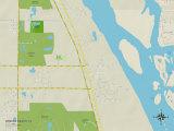 Political Map of Winter Beach, FL Prints