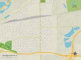Political Map of Washington Park, IL Prints