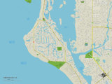 Political Map of Siesta Key, FL Prints