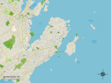 Political Map of Marblehead, MA Prints