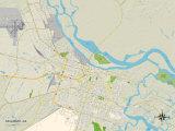 Political Map of Savannah, GA Prints