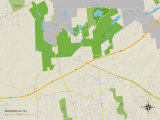 Political Map of Manorville, NY Prints