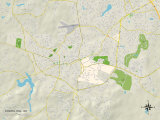 Political Map of Chapel Hill, NC Art