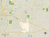 Political Map of Midwest City, OK Print
