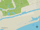 Political Map of Sunset Beach, NC Posters