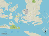 Political Map of Beaufort, NC Prints