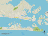 Political Map of Morehead City, NC Posters