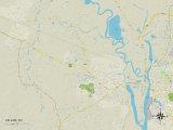 Political Map of Leland, NC Prints