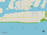 Political Map of Long Beach, NY Prints