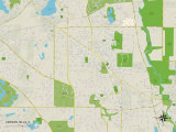 Political Map of Vernon Hills, IL Prints