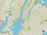 Political Map of New York City, NY Prints