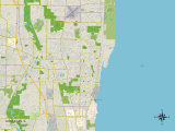 Political Map of Waukegan, IL Prints