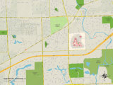 Political Map of Oakbrook Terrace, IL Prints