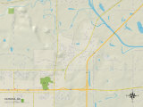 Political Map of Catoosa, OK Art