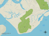 Political Map of Seabrook Island, SC Prints