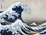 """Den store bølge ved Kanagawa, fra """"36 views of Mount Fuji"""", ca.1829 Plakater af Katsushika Hokusai"""