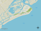 Political Map of Isle of Palms, SC Prints