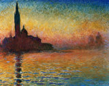 Zonsondergang in Veneti Poster van Claude Monet
