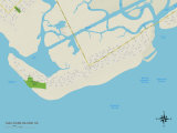Political Map of Sullivans Island, SC Prints