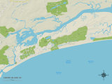 Political Map of Kiawah Island, SC Prints