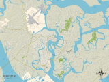 Political Map of Beaufort, SC Prints