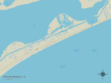 Political Map of Bolivar Peninsula, TX Prints