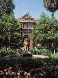 Fountain in Garden in Front of Building, Savannah Cotton Exchange, Chatham County, Georgia, USA Photographic Print