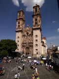 Group of People in Front of Cathedral, Santa Prisca Cathedral, Plaza Borda, Taxco, Guerrero, Mexico Photographic Print