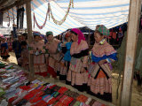 Flower Hmong Woman with Daughter Looking at Livestock at Bac Ha Sunday Market, Vietnam Photographic Print